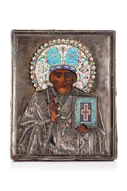 Icône de Saint Nicolas de Myre. Chromolithographie...