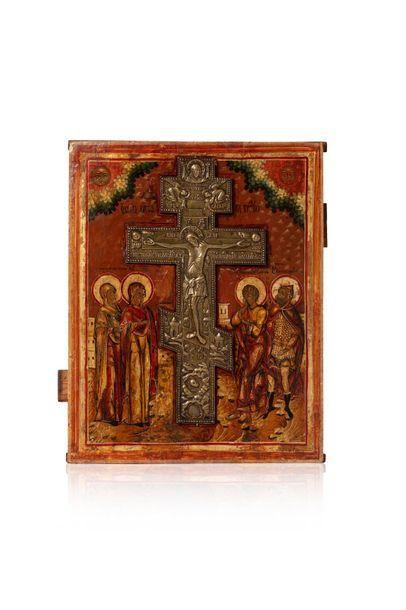 Icône de la crucifixion. Tempera sur bois,...