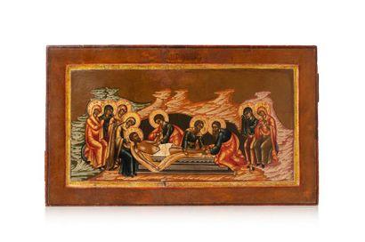 Icône de la déploration du Christ. Tempera...