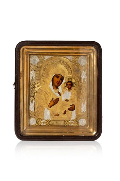 Icône de la Mère de Dieu de Tikvine. Chromolithographie...