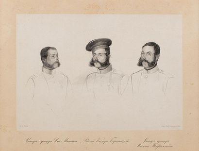 Lithographie figurant deux sous-officiers...