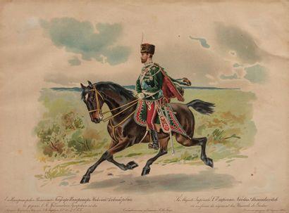 Nicolas II (1868-1918). Lithograhie en couleur...
