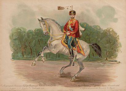 Nicolas II (1868-1918). Lithographie en couleur...