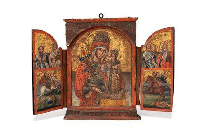 Icône triptyque de la Mère de Dieu Rose immarescible....