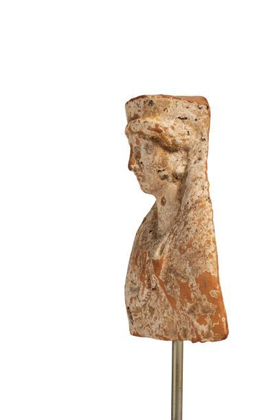 Protomed in the shape of a female bust topped by a polo shirt with a hole at the...