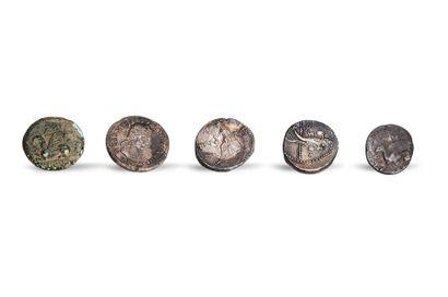 Lot including one engraved denier: REX IVBA Rev. Cornucopia and sceptre. One denarius...