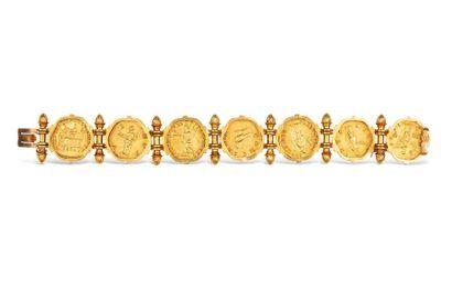 RARE SUITE D'AUREI DE LA DYNASTIE DES ANTONINS Bracelet composé de sept aurei des...