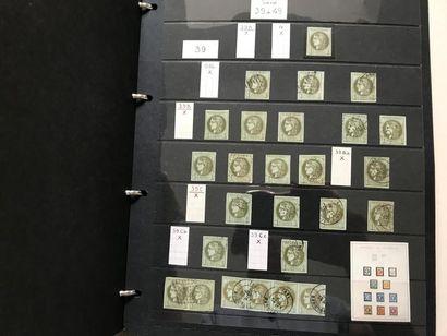 Bel ensemble de timbres et lettres du n°25 au n°60, étude de nuances, oblitérations,...