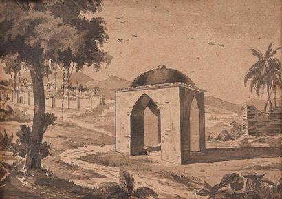 ROMIEU Louis Léonce (1798-1891), fils du Général. Vue du tombeau du Général Romieu...