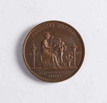 Mariage de Napoléon Marie-Louise à Vienne. Médaille en bronze aux profils à l'antique...