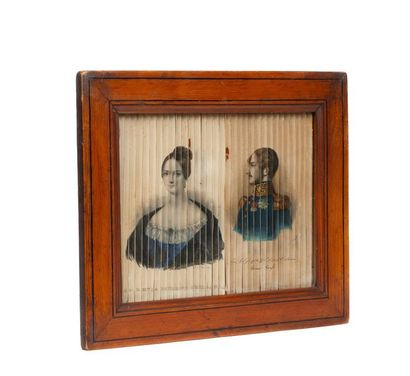 Diorama représentant quatre portraits lithographiés rehaussés à l'aquarelle, d'un...