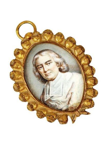 École française du XVIIIe siècle. Portrait de Fénelon (1651-1715). Miniature ovale...
