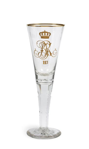 Grand verre commémoratif en cristal taillé,...