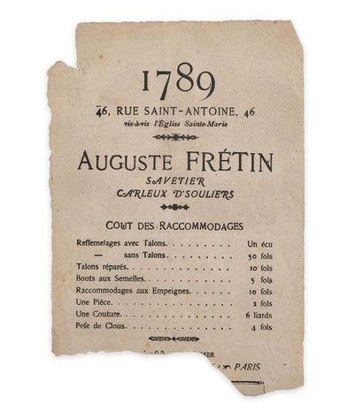 En-tête de commerçant parisien (1789). Affiche...