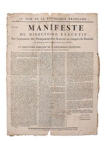Congrès de Rastatt. Manifeste du Directoire exécutif sur l'assassinat des Plénipotentiaires...