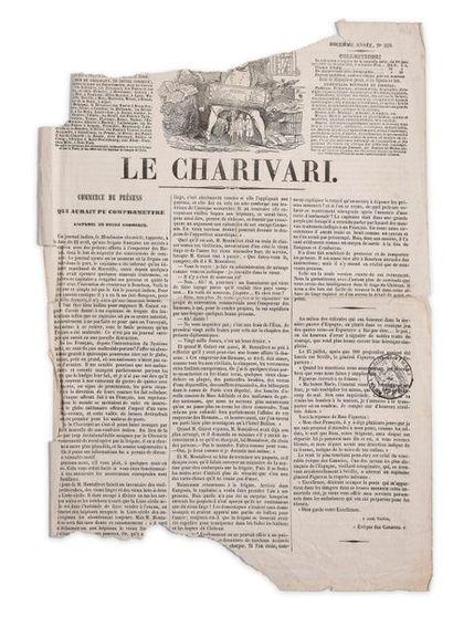 """Journal """"Le Charivari"""" (premier quotidien illustré satirique du monde), n°220, 1841..."""