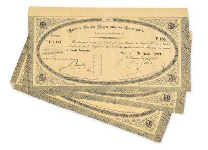 Lot de 4 secondes de 100 francs datées du 14 août 1863, à l'Ordre de M. le Payeur...