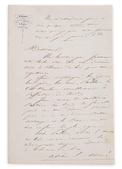 Colonel Nicolas Achille de Bigault, comte d'Avocourt (1812-1886). Lettre autographe...