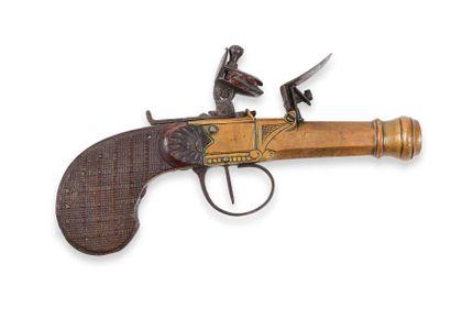 Pistolet liégeois, à coffre, à silex, en...