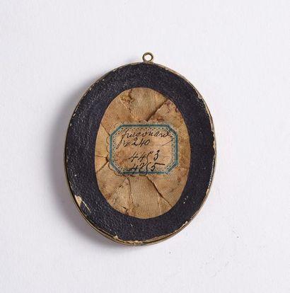 Marie-Anne FRAGONARD (1745-1823), attribué à. Portrait de jeune fille. Miniature...