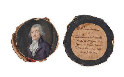 Portrait miniature peint à la gouache sur ivoire représentant un homme en buste...