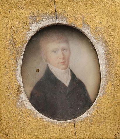 École anglaise du début du XIXe siècle. Portraits de Samuel Bate, lainier, et Overs...