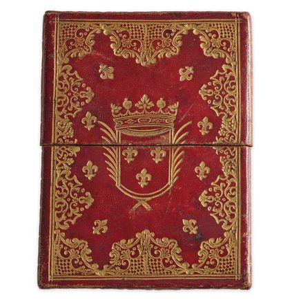 Écrin à carte ou à plan en maroquin rouge...