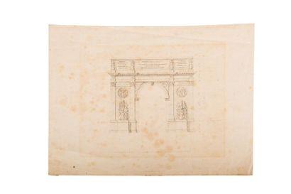 CHALGRIN Jean-François (1739-1811), suiveur de Projet d'arc de Ttiomphe. Dessin...