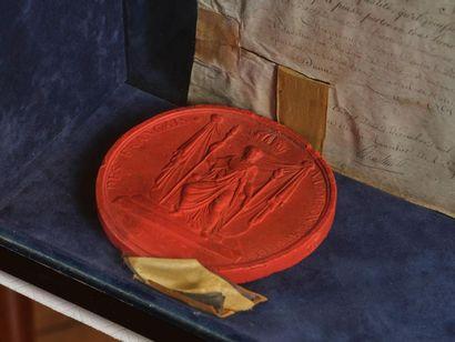 Lettres patentes signées par Napoléon. Brevet de nomination sur parchemin au titre...