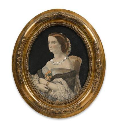 Eugénie, impératrice des Français. Portrait lithographié rehaussé représentant l'impératrice...