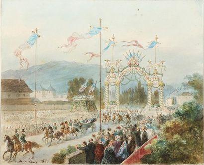MARC Jean Auguste (1818-1886). Entrée triomphale de l'empereur Napoléon III et de...