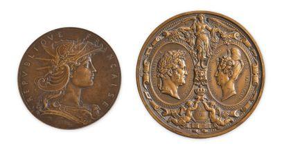 Médaille en bronze frappée à l'occasion de la visite du roi Louis-Philippe à la...