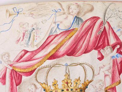 Armes du Comte d'Aguilar (Espagne). Rare dessin d'armoiries sur vélin, peintes à...