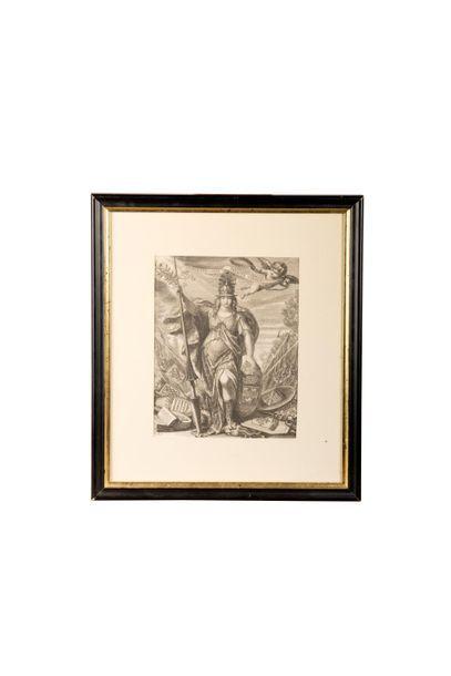 Christine de Suède (1626-1689). Gravure représentant...