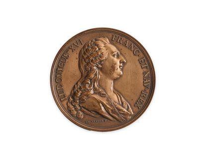 Médaille en cuivre représentant Louis XVI...