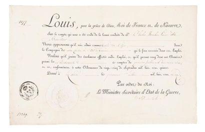 Brevet de Garde-du-Corps au grade de lieutenant...