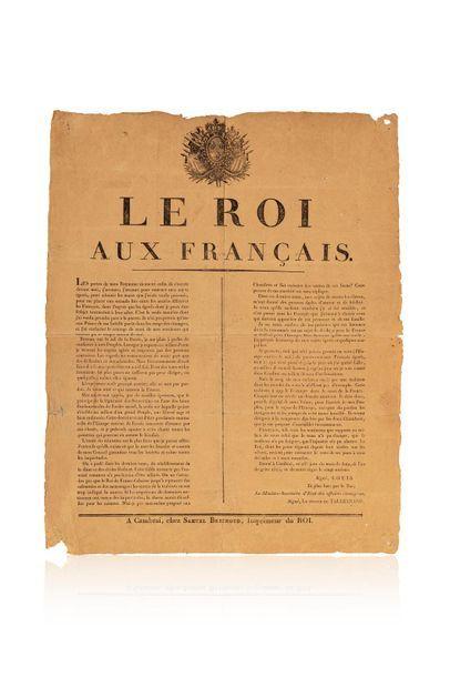 Le Roi aux Français. Proclamation de Cambrai...