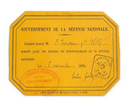 Jules Ferry (1832-1893). Billet de laisser-passer...