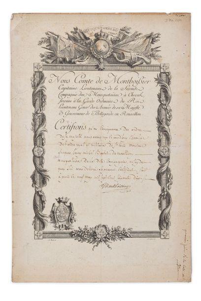 Mousquetaires du Roi. Rare certificat de chevalier de l'ordre royal et militaire...