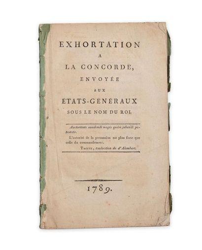 Cerutti Joseph-Antoine (1738-1792). Exhortation à la Concorde envoyée aux États-Généraux...