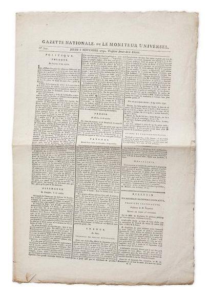 Gazette nationale ou Le moniteur universel, n°307, jeudi 3 novembre 1791, pages...