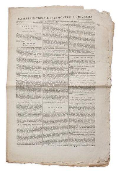 Gazette nationale ou Le moniteur universel, n°310, dimanche 6 novembre 1791, pages...