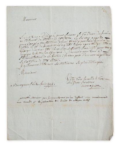 Justice de la Creuse. Lettre signée avec...