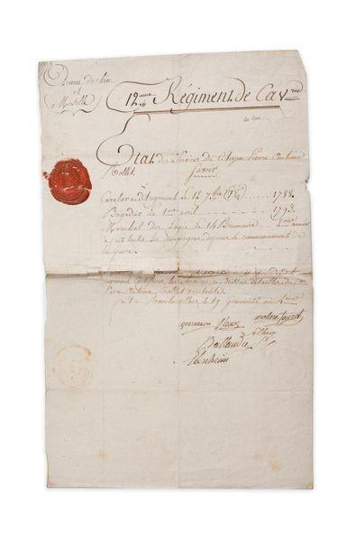 12e régiment de cavalerie. État des services du citoyen Pierre-Antoine Rollet, entré...