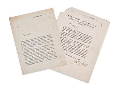 Seconde Restauration - Département de la Creuse. Lettre tapuscrite signée par le...