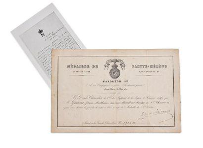 Diplôme de la médaille de Sainte-Hélène. Délivré de certification à M. Gossens Jean...