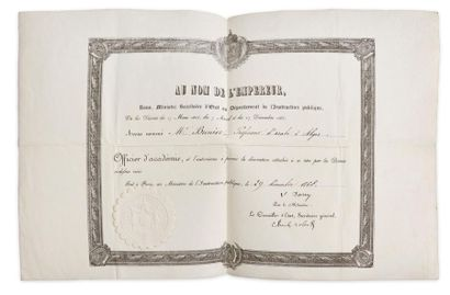 Ordre des Palmes académiques. Diplôme d'officier d'Académie, sur vélin, décerné...
