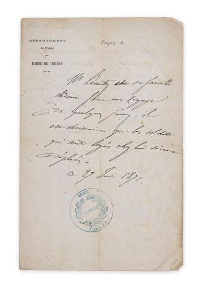 Guerre franco-prussienne de 1870. Lettre...