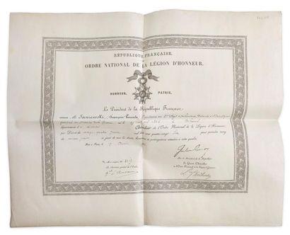 Diplôme de chevalier de l'Ordre national...