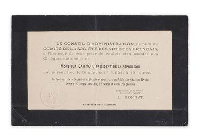 Sadi Carnot (1837-1894). Carton d'invitation aux Obsèques nationales du président...